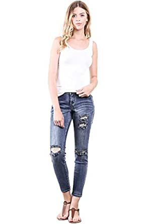 CNC STYLE Women's Distressed Cropped Stretch Washed Skinny Denim Midrise Ankle Jeans 1 Blue