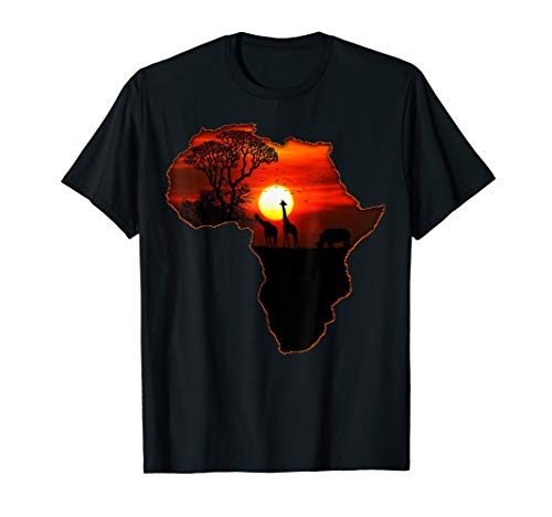 (Africa T Shirt Map Of Africa Tee South African Sunset)