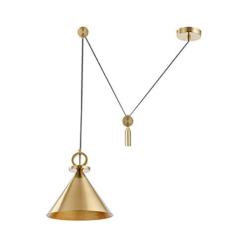 CSDM.AI Vintage Industrial Ceiling Lighting, Pendant Light Industrial Gold Chandelier Pulley Rise and Down Vintage Indoor Lighting Home Ceiling Lights Fixture,Gold,24cm