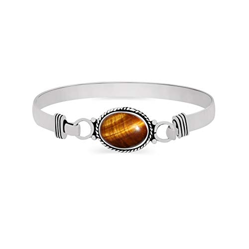 925 Silver Plated 9.10ct, Genuine Tiger Eye Bangle Made by Sterling Silver Jewelry