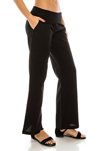 - Me in California Women's Plus Size Comfy Fold Over Band Waist Linen Pants with Pockets Black X-Large LP1002