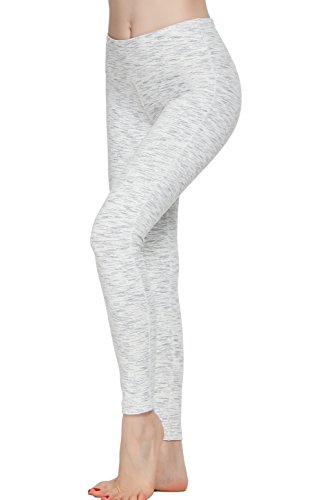 Oalka Women Yoga Pants Workout Running Leggings White M