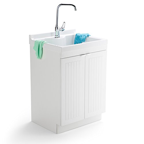 Simpli Home Murphy Laundry Cabinet with Faucet and ABS Sink, 24'', Pure White by Simpli Home (Image #1)