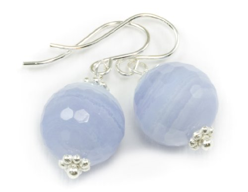 Sterling Silver Blue Lace Agate Earrings Faceted Round Drop Dangles Banded