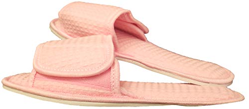 Cotton Wafffle Spa Slipper, Open Toe w/Closure and Non-Skid Sole