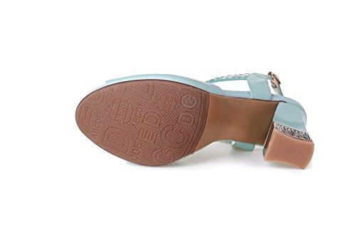 AllhqFashion Mujeres Peep Sólido Tacón ancho Hebilla Sandalia Azul