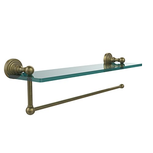 Allied Brass WP-1PT/16-ABR Waverly Place Collection Paper Towel Holder with 16 Inch Glass Shelf Antique Brass
