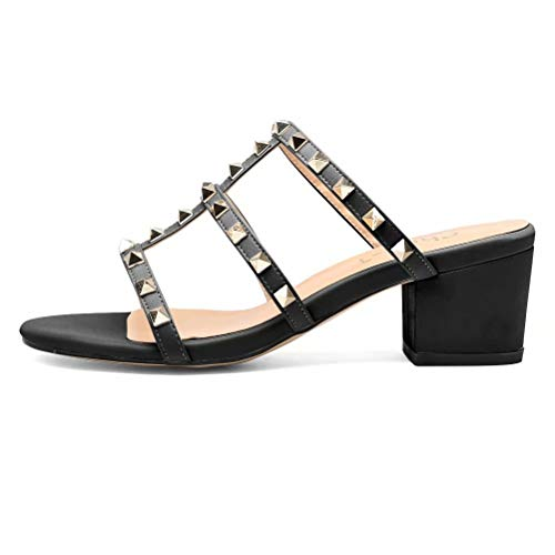 Chunky Heel Party Dress Sandals Leather 2 Inches Low Block Heel Shoes Open Toe Studded Pumps for Women Black Size 9
