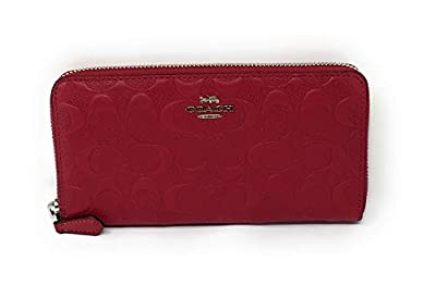 Coach F27865 Accordion Zip Wallet In Signature Embossed Leather Hot Pink