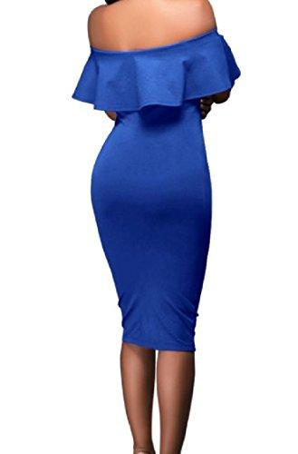 Coolred-femmes Au Large De L'épaule Robe Hérissée Taille De Base Couleur Unie Bleu Robe D'été