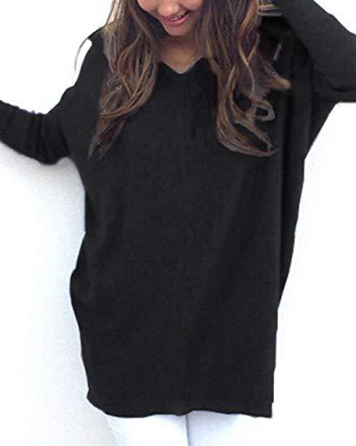 Blusa Primaverile Donna Camicia Camicetta Elegante Casual Monocromo Women Neck Baggy Shirts Autunno Giovane Maniche Lunghe Schwarz Tops A Maglioni V qEwEadrI