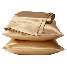 (2 Piece Queen Size Solid GOLD SATIN Pillow Cases Silky Smooth Bridal Pillowcases Set)