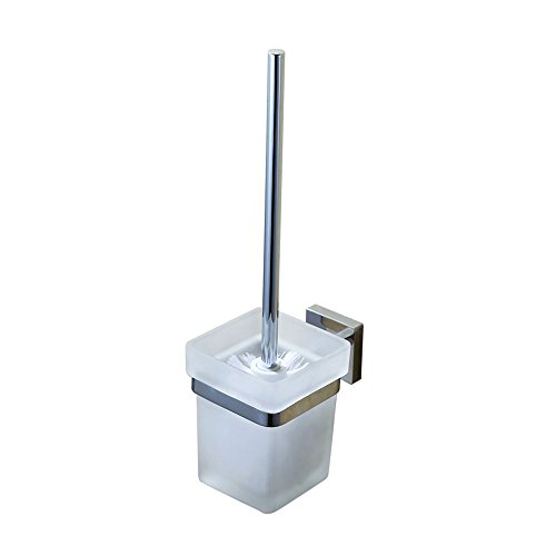 Kes Toilet Brush and SUS 304 Stainless Steel Holder Glass Canister Wall Mount for Bathroom Storage Modern Square Style Polished Finish, ()