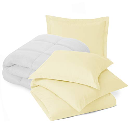 Nestl Bedding Comforter and Duvet Set, Down Alternative Comforter, Microfiber Duvet Set - Comforter Cover and 1 Pillow Sham, Twin - Vanilla Yellow (Light Comforter Yellow)