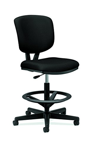 HON Volt Task Stool - Upholstered Office Stool, Black (H5705) by HON