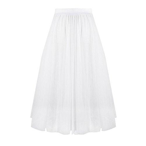 Aerusi Vintage 3 Layer Lace Tulle Overlay Tutu Skirt Party (Sheer Vintage Skirt)