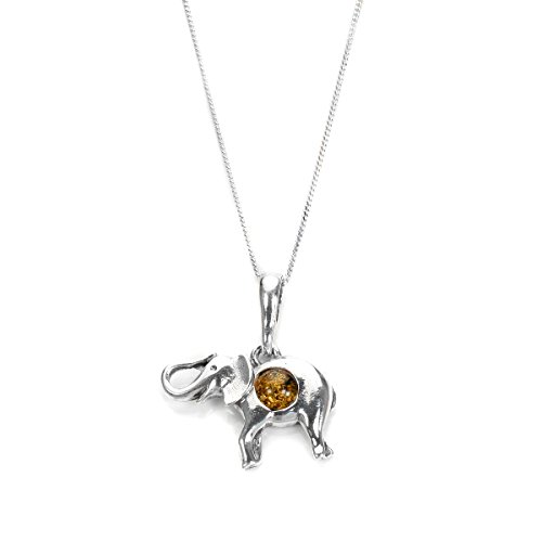 g Silver & Cognac Baltic Amber Elephant Pendant on 18 Inches Chain (Amber Elephant Pendant)