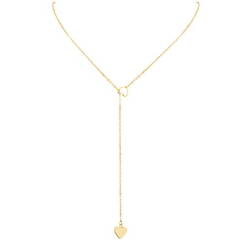 IORMAN Double Love Heart Choker Necklace, Gold Silver Dainty Lariat Y Necklace with Adjustable Chain, I Love You Choker Pendant Necklace Gifts for Her Valentines Birthday Day (Gold)