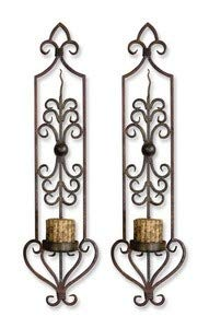 Uttermost 30 by 6-1/2 by 8-Inch Privas Wall Sconces, Set of 2, Full Size, Rustic