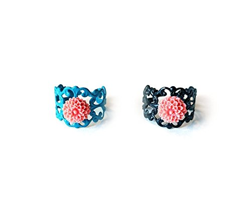 Ornate Filagree (Filigree rings - ornate design with coral flowers - adjustable - choose turquoise or black enamel finish)