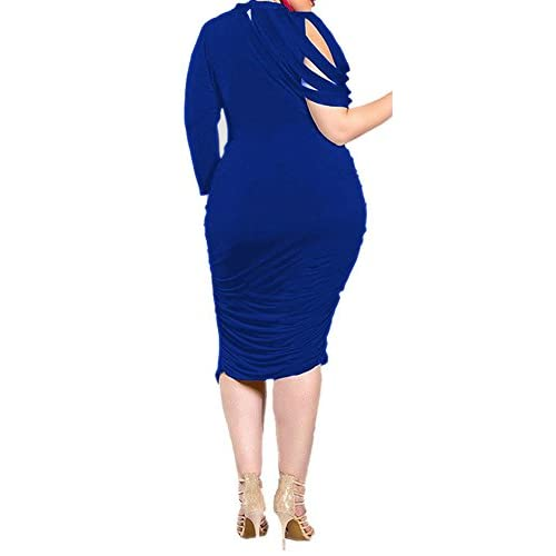 Free Shipping Delcoce Women Sexy Ruched Waist Stretch Bodycon Party