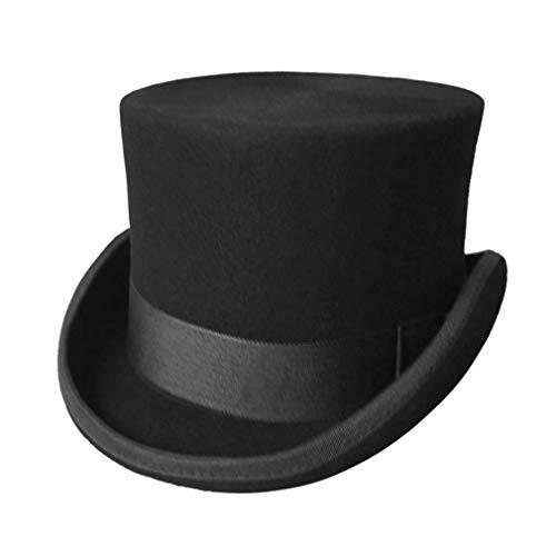 GEMVIE Men's 100% Wool Top Hat Satin