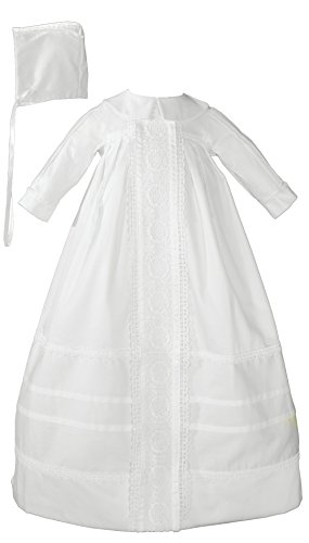 Bishops Sateen Cotton - Little Things Mean A Lot Cotton Sateen Bishop's Christening Baptism Gown and Bonnet, 03 Month