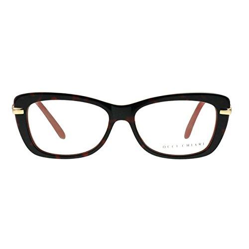 Eyeglasses With Clear Lenses OCCI CHIARI Fashion BAMI Acetate Frame (Red, - Frame Acetate