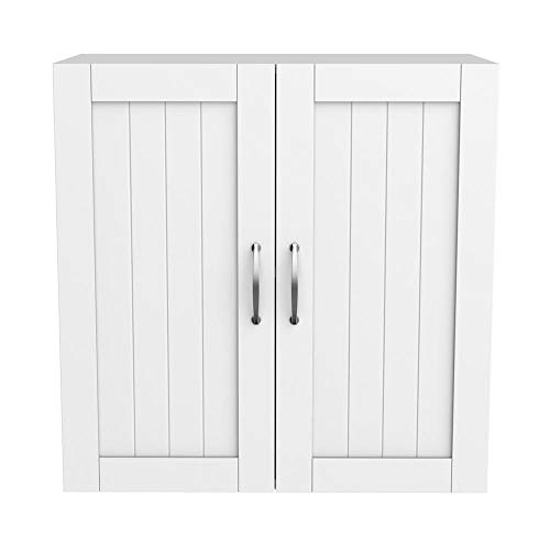 Yaheetech Bathroom Wall Mounted Cabinet Storage Organizer with Double Door and Adjustable Shelf Wooden White