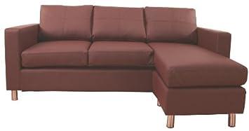 Pisa Brown Leather Corner Sofa Suite Left or Right Facing ...