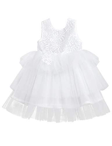 Toddler Baby Flower Girls Tulle Dress Lace Backless Tiered Tutu A-line Beaded Party Dress(White 1-2T)