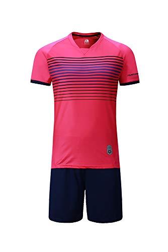 Premium Soccer Uniforms for Kids, Sizes 4-12, Boys/Girls Sports Activewear Color Shirts - Black Shorts (Pink, Medium)
