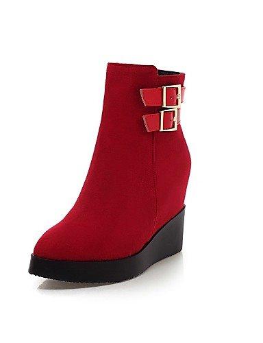 Bout Rouge Compensées Compensé Bottes Red Chaussures Cn34 Femme Uk3 Plateau Eu35 Talon A Noir Pointu Décontracté La À Mode us5 Habillé Xzz q8Ppxwnfn