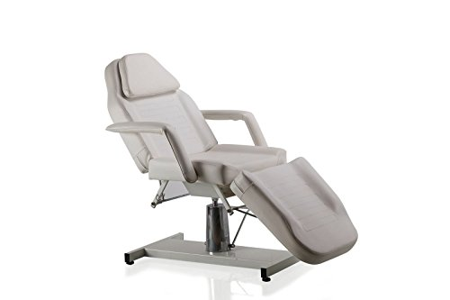BeautyRiver Beauty Salon Equipment White Facial Massage Table Bed Chair (White) (Motorized Facial Bed)