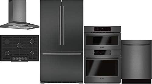 "Bosch 5 Piece Kitchen Package B21CT80SNB 36""French Door Refrigerator,NGM8046UC 30""Gas Cooktop,HCP80641UC 30"" Hood,HBL8742UC 30""Electric Oven