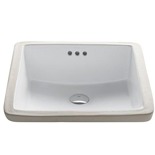 Kraus KCU-231 Modern Elavo Ceramic Square Undermount Bathroom Sink with Overflow, White by Kraus
