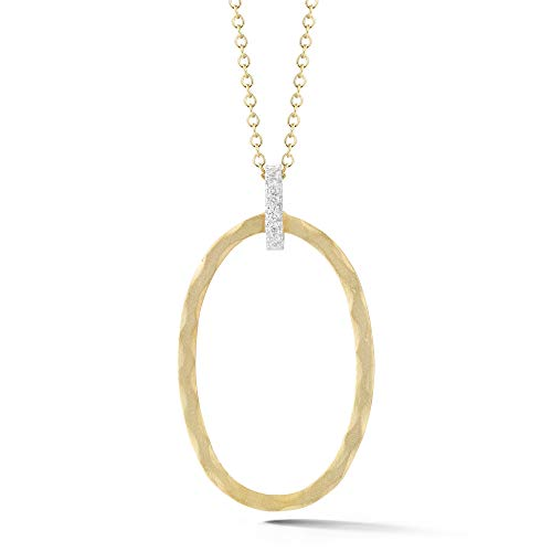 I REISS 14K Yellow Gold 0.06ct TDW Diamond Accent Open Oval Pendant Necklace ()