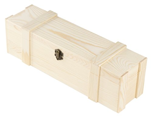 Wooden Wine Box - Single Wine Bottle Wood Storage Gift Case, Hinged with Clasp Box for Birthday Party, Housewarming, Wedding, Anniversary, 14 x 4.125 x 4.125 Inches
