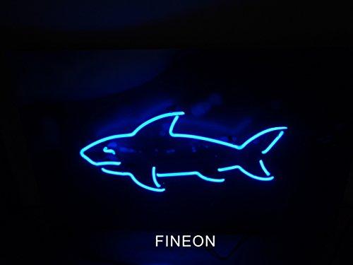 Mirsne Shark Glass tube Rock Neon Sign Sculpture Blue Bar Neon Light Sign 35cm x 14cm x 14cm Neon Lamp with PLASTIC Base - Blue Neon Lamp