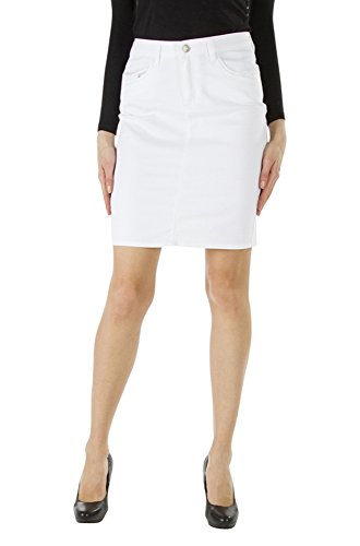 satin toile en Femme Jupe Kanop extensible Blanc Catia ABpWqWaS