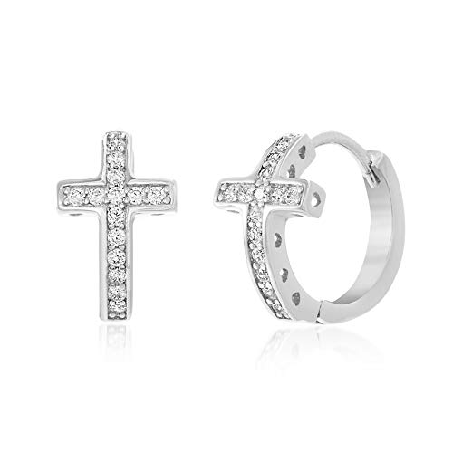- MIA SARINE Small Cross Cubic Zirconia Huggie Hoop Earrings for Women in Rhodium Plated Sterling Silver