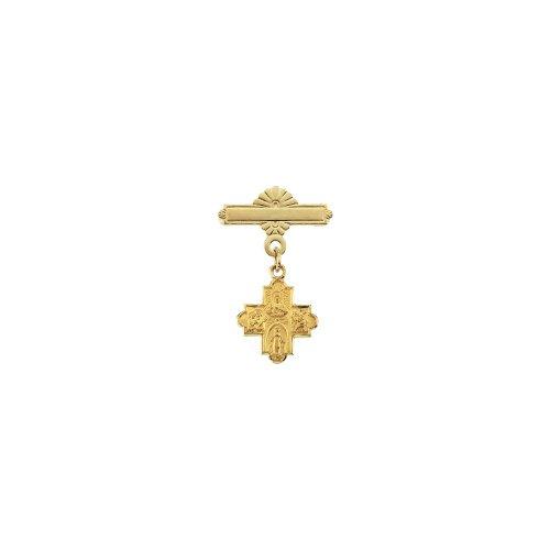 14k Yellow Gold 4-Way Cross Baptismal Pin 12x12mm