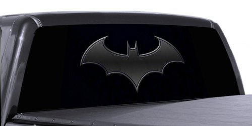 VuScapes - 795-SZC- BATMAN LOGO BLACK  Rear Window Truck Graphic - decal suv view thru (Decal Logo Window Graphic)