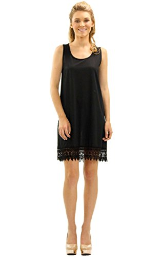 [Shop Lev] Womens Soild Knit Lace Tank Full Slip Dress Extender