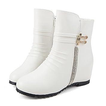 GLL&xuezi Mujer Botas Botas de Moda Otoño Invierno PU Casual Vestido Cremallera Tacón Cuña Blanco Negro