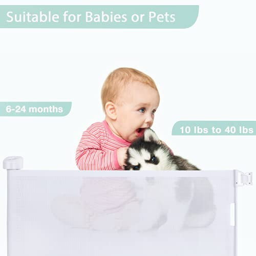 """31jO2BhY5XS Retractable Baby Gate,Abaook Mesh Retractable Safety Gate for Stairs, Extra Wide Safety Baby Gate 34"""" Tall, Extends to 54"""" Wide, Dog Gate for doorways,Stairs,Hallways,Indoor/Outdoor (White)    Product Description"""