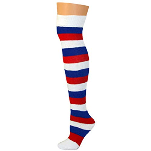 AJs Adult Knee High Striped Socks - Red/White/Blue