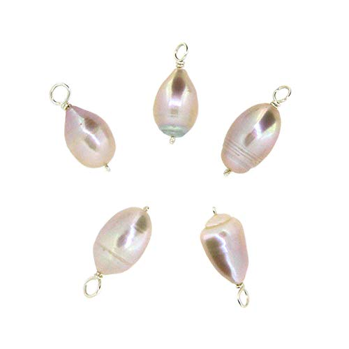 Pink Wire Pearls Freshwater (Pink Freshwater Pearl Charms - Wire Wrapped Pink Pearl Bead Charms (5 Pieces))