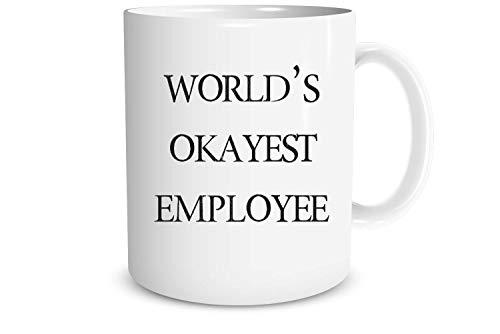Funnwear World's Okayest Employee - Funny Office Mug, for Office Employees Coworkers - Work Appreciation - Cute Secret Santa Gift for Christmas New Year 11oz Ceramic Coffee/Tea Mug