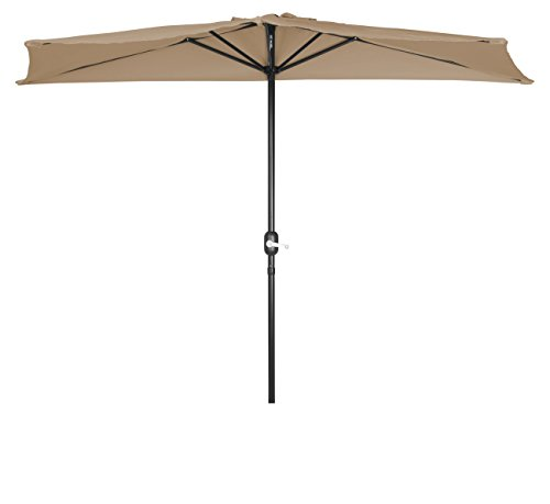 Trademark Innovations PATUMB Patio Half Umbrella-9' Diameter-(Tan) (Outdoor Ideas Small Apartment Patio)
